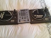 Vestax direct drive DJ decks and mixer